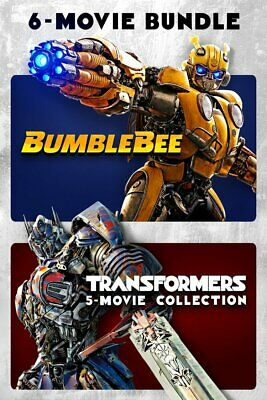 Transformers + Bumblebee 6-Movie Collection HDX INSTAWATCH VUDU no physical disk