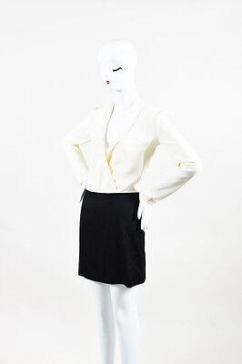 Joseph Nwot Cream Black Wool Silk Crepe Ls Color Block  Lauren  Dress Sz 36