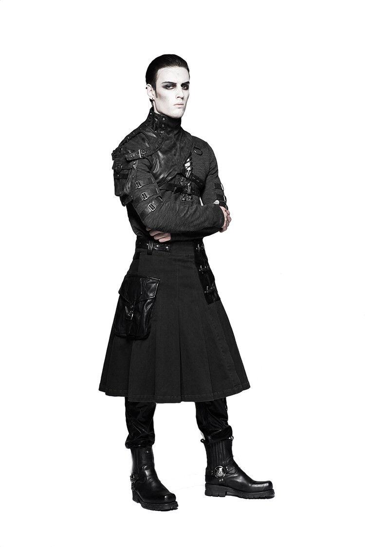 PUNKRAVE BLACK GOTHIC STEAMPUNK BIKER ROCK STAR METAL SCOTTISH KILT SKIRT Q-319 Clothing, Shoes & Accessories