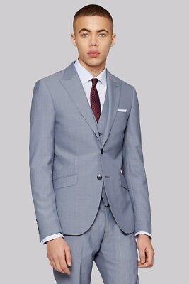 Moss London Skinny Fit Ice Blue Jacket 40L TD083 UU 08