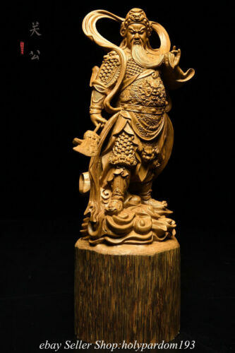"""10"""" Chinese Agalloch eaglewood Carving Guan Gong Yu Broadsword Statue Sculpture"""