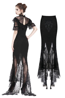 - Dark In Love KW127 Morticia Long Skirt Fishtail Black Lace Gothic Victorian
