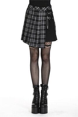 Dark in Love KW135 Punk pleaded mini-skirt black and grey school girl style - Schoolgirl In Skirt