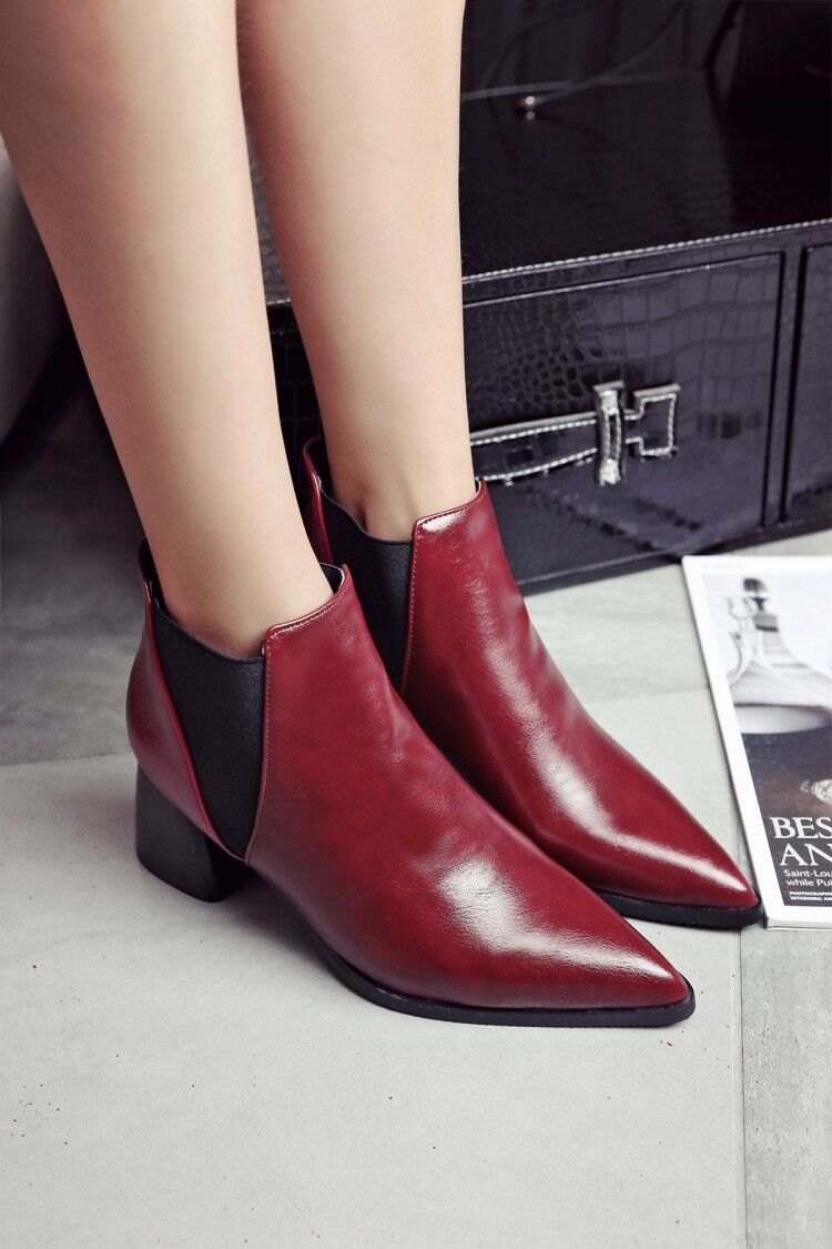 Vogue Retro Womens Leather Chelsea Pointy Toe Shoes Ankle Boots Cuban Heels  1
