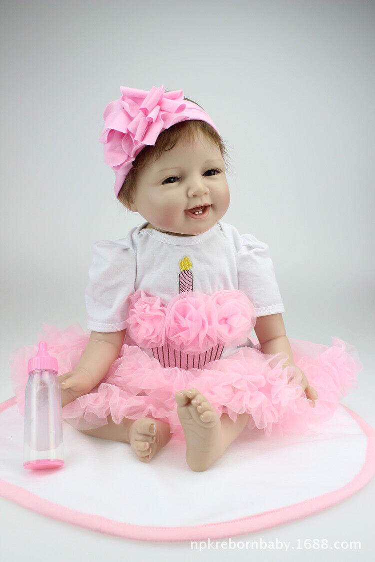 21inch  Smile Girl Reborn Lifelike Newborn Doll Silicon Baby Toddler Gift Dolls
