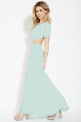 Forever 21 mint green light blue lace cut out maxi dress gown Med m H&M - Mint Green Blue
