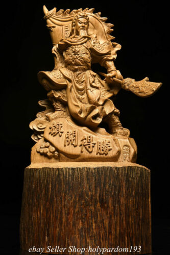 """8.4"""" Chinese Agalloch eaglewood Carving Soldier God Guan Gong Yu Statue"""
