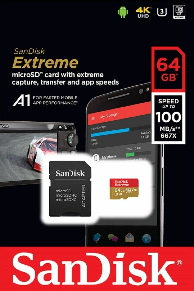 Купить SanDisk Extreme 100MB/s - SanDisk 64GB microSDXC Extreme 100MB/s A1 4K U3 V30 64G SD microSD memory card