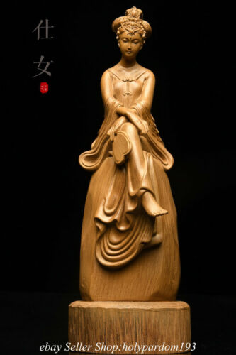 """8.8"""" Chinese Agalloch eaglewood Carving Seat Beauty Belle Statue Sculpture"""