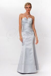 Gorgeous Silver Strapless Evening Bridesmaids Dress ED8886 UK NEXT DAY DELIVERY