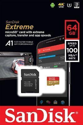 SanDisk 64GB microSDXC Extreme 100MB/s A1 4K U3 V30 SD microSD memory card