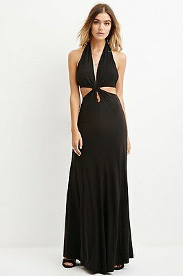 Forever 21 Black Open-Back Halter Maxi Party Dress Mudeim M - Back Halter Dress