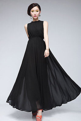 WOMEN'S MAXI LONG CASUAL SLEEVELESS CHIFFON VINTAGE COCKTAIL PARTY EVENING DRESS on Rummage