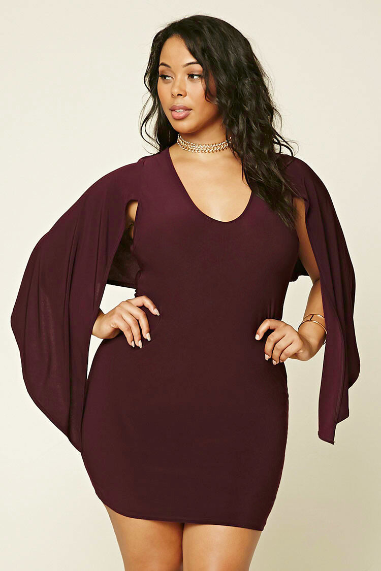 Forever 21 Plus Size Eggplant Cape-Sleeve Bodycon Mini Dress 3X