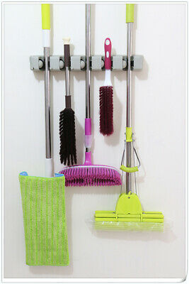 INTBUYING 5 Position Wall Mount Magic Mop and Broom Holder Hanger Cleaning Tools Position Wall Mount