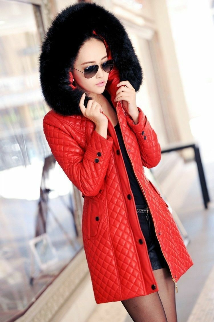 Leather Fur Collar Down Cotton Long Hooded Coat