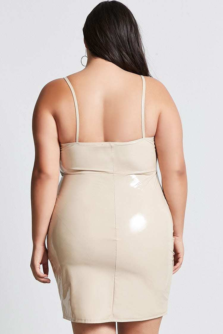 Forever 21 Plus Size Taupe Faux Leather Dress 2