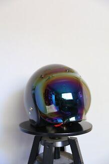 Metallic grey motorcycle helmet