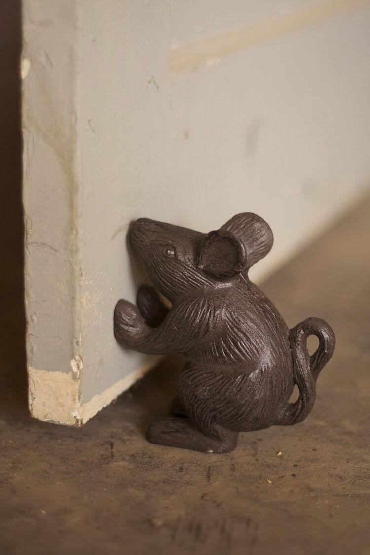 Vintage Antique Old Look Cast Iron Mouse Rat Rustic Door Stop  Home Garden Decor