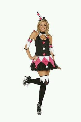 Sexy  4PC Court Jester Women's Halloween Circus Holiday Cosplay Costume. Medium ](Halloween Costumes Court Jester)
