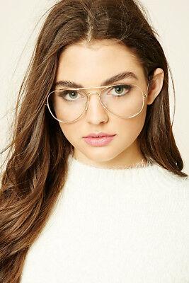 Klassisch Klarglas Brille Vintage Retro Aviator Gold Rahmen Brille UV 100%