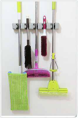 INTBUYING Wall Mount Magic Mop and Broom Holder Hanger Cleaning Tool Organizer