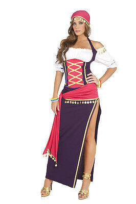 Gypsy Maiden Costume (Gypsy Maiden Fortune Teller Costume Top Skirt Scarf Purple White Psychic)