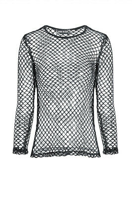 Dark in Love Long Sleeve Fishnet Gothic Punk Industrial Raver Black Shirt TW106 Black Long Sleeve Fishnet