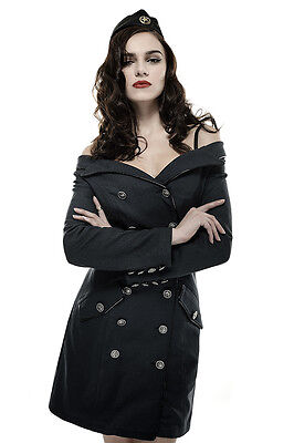 Military Pin Up Costumes (Punk Rave Vintage Steampunk Pin-up Military Blue Off Shoulder Coat Dress)