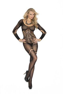 Gothic schwarz langarm Catsuit offen Muster neu S M XL Sexy Damen Bodysuit Teddy