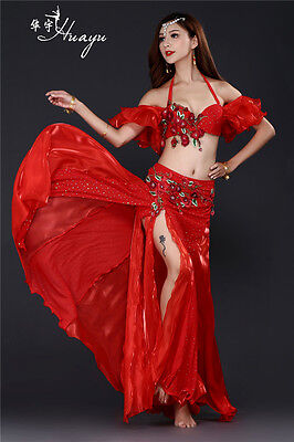 On sale New Embroidery Professional Belly Dancing Costumes 3 PCS Bra Skirt Belt