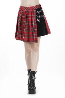 Dark in Love KW135 Punk pleaded mini-skirt black and red school girl style - Schoolgirl In Skirt