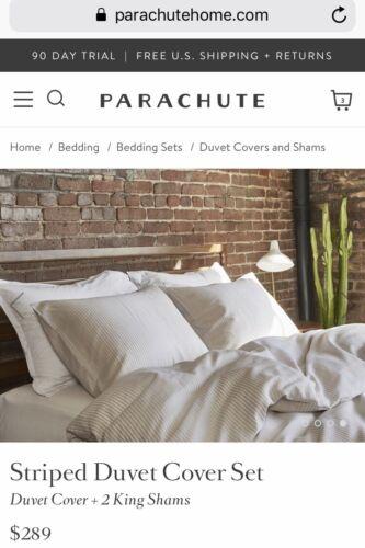 Parachute Bedding Striped Linen Cotton Blend King Set Duvet