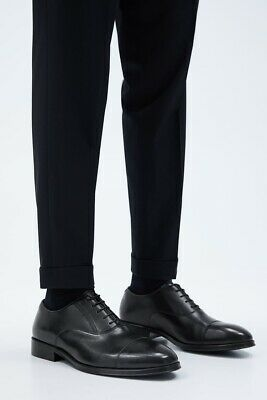 Zara Men Black Leather Oxford Dress Shoe Size US 11 EUR 44 RRP $99.90