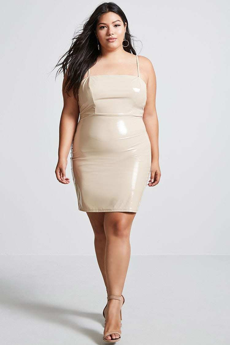 Forever 21 Plus Size Taupe Faux Leather Dress 3