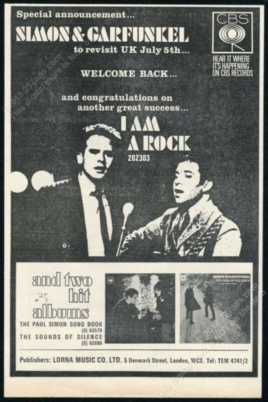 1966 Simon & Garfunkel photo I Am A Rock record release scarce UK print ad