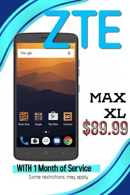 Zte Max Xl   16Gb   Black  Boost Mobile  Smartphone