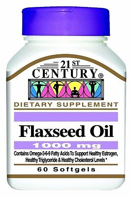 21St Century Flaxseed Oil 1000 Mg Softgels  60 Count  Free Worldwide Shipping