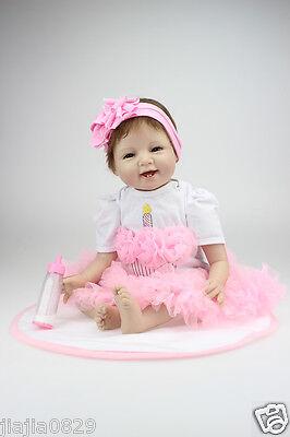 "Happy Christmas Reborn Baby Dolls 22"" Newborn Girl Soft Silicone Real Life Dolls"