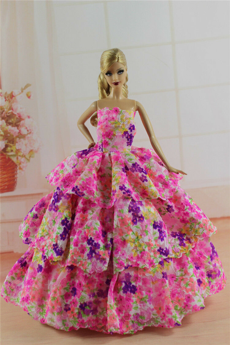 15 items=5* Fashion Handmade Party Dress/Clothes/Gown +10 shoes For Barbie Doll