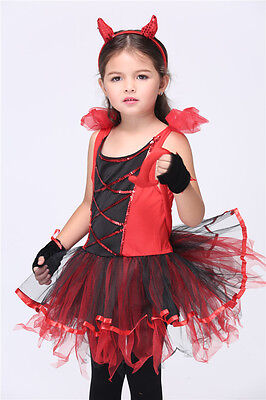 Girl's Devil children's Cat Girl Cosplay Party Halloween Costumes for kids