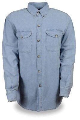 LONG SLEEVE Denim Shirt 100% Cotton Work Casual Biker Motorcycle Button Down