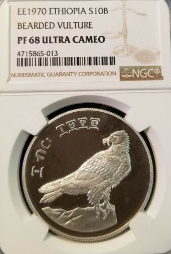 1970 ETHIOPIA SILVER 10 BIRR BEARDED VULTURE NGC PF 68 ULTRA CAMEO LOW MINTAGE