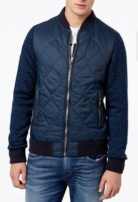 Superdry Men's Ink Heather Blue Storm Mountain Quilted Bomber Full Zip Jacket
