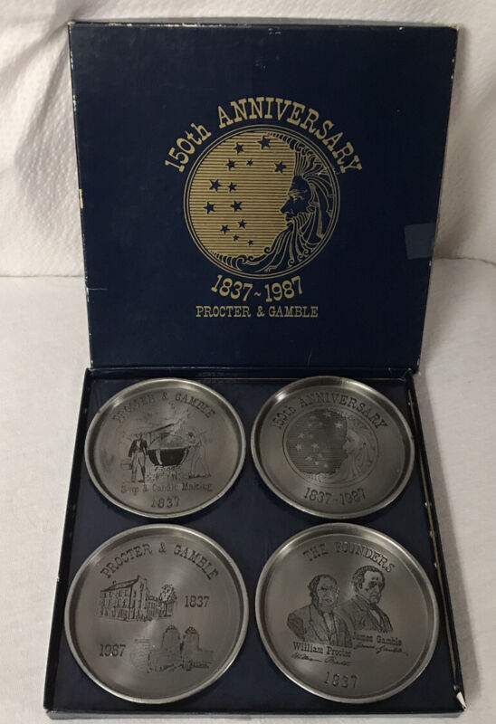Procter and Gamble Vintage Coasters Set Of 4 Pewter Metal 150th Anniversary Box