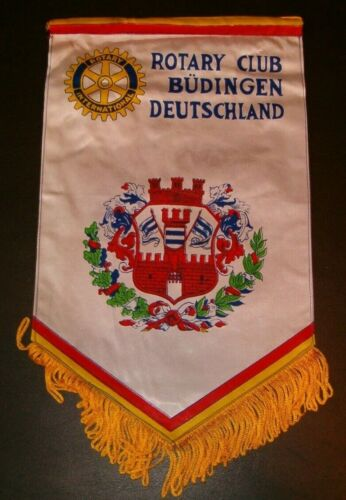 VINTAGE Rotary International Club wall banner flag  BUDINGEN DEUTSCHLAND