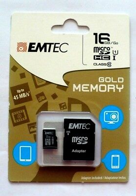 Emtec 16GB Micro SD HCI Class10 Memory Card with SD Adapter 45 MB/S Gold Memory