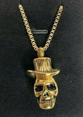 Gold Skull Top hat Cremation Memorial Pendant & Necklace W/ Ashes Filling Kit