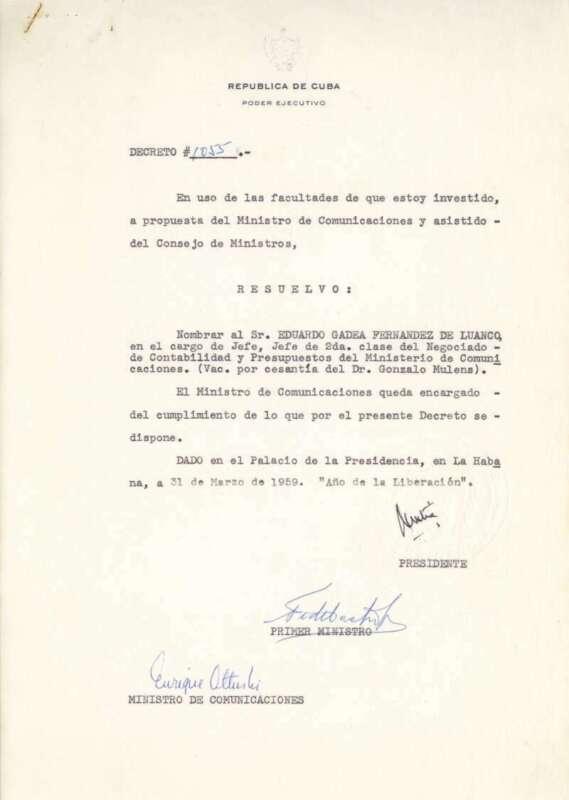 Fidel Castro Signed Auto 1959 Document Beckett BAS
