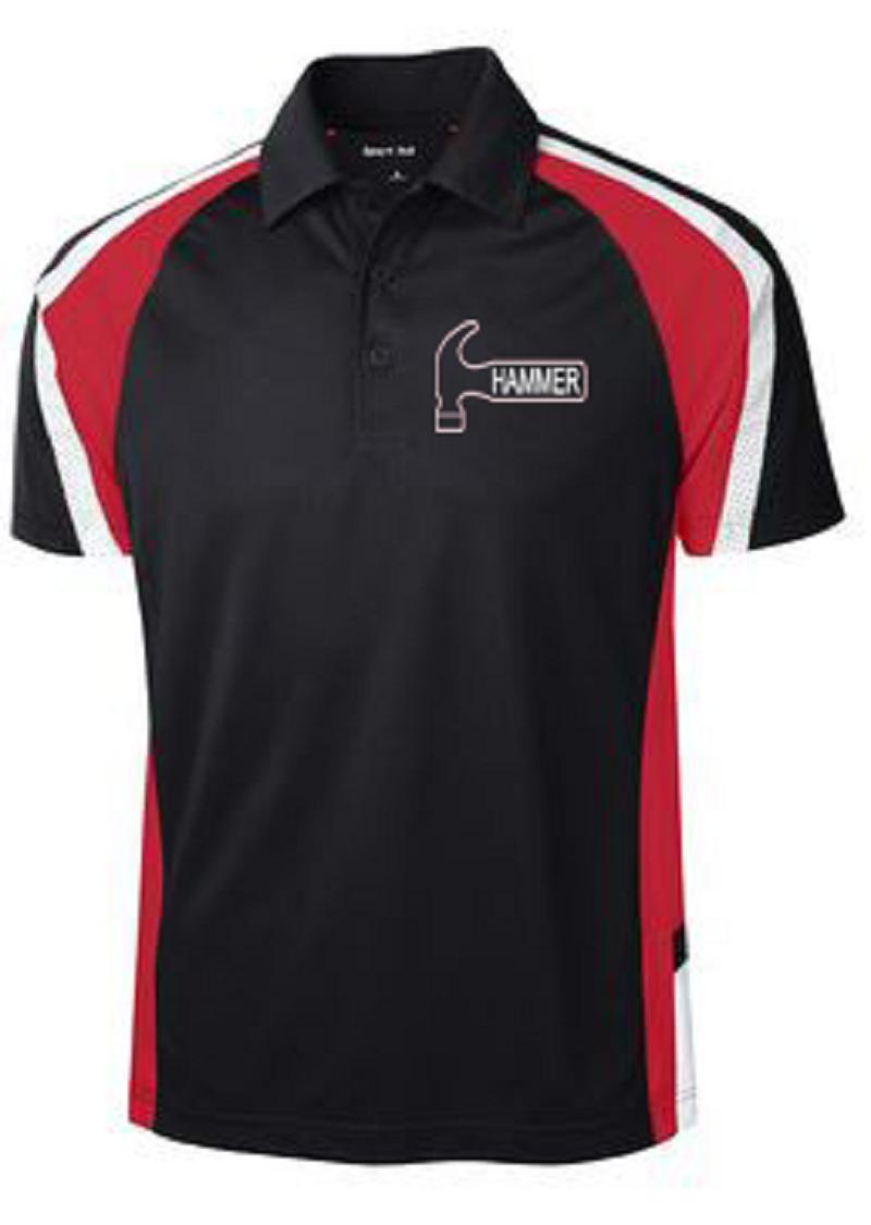 Hammer Men's Burn Performance Polo Bowling Shirt Dri Fit Black